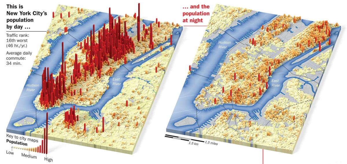 Manhattans Daytime Population Map Source Found Spatiality - Us night map