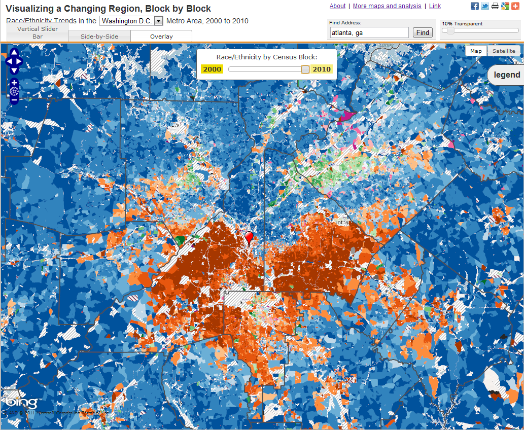 demographic map of atlanta Innovative Map Comparisons Census Change In 15 Cities Spatiality demographic map of atlanta
