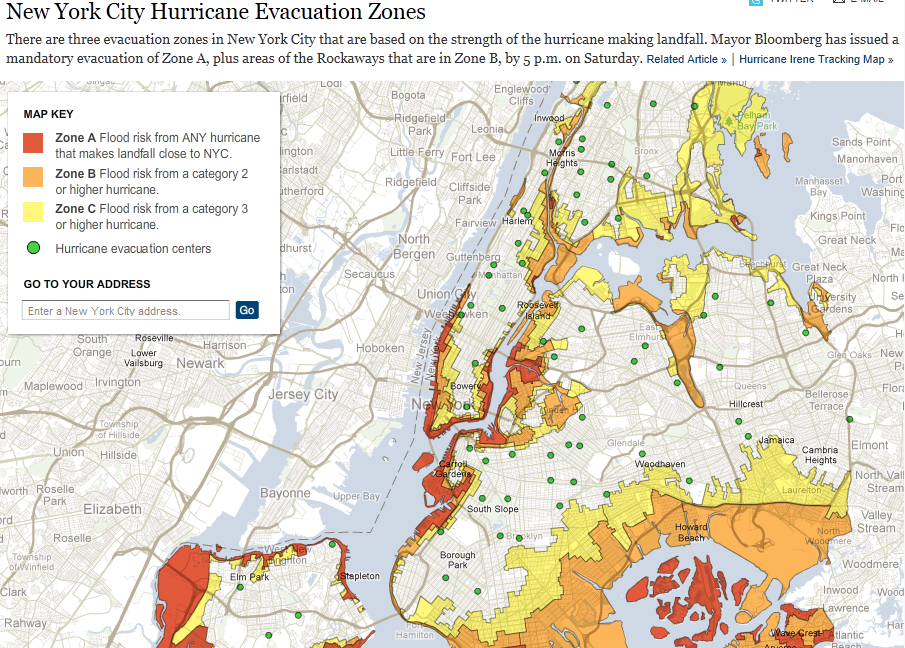Mapping Hurricane Irene in NYC plus some thoughts on the citys